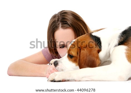 young beautiful girl woth dog - stock photo