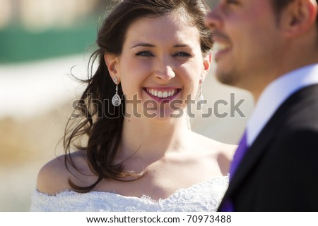Young beautiful happy bride portrait . - stock photo