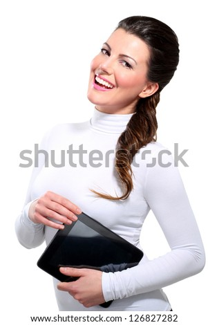 Young beautiful happy business woman with tablet on white - stock photo
