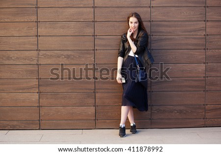 young beautiful happy stylish hipster girl - stock photo