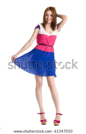 young beautiful happy woman in dress isolated - stock photo
