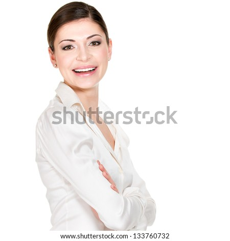 Young beautiful happy woman in white office shirt - on white background