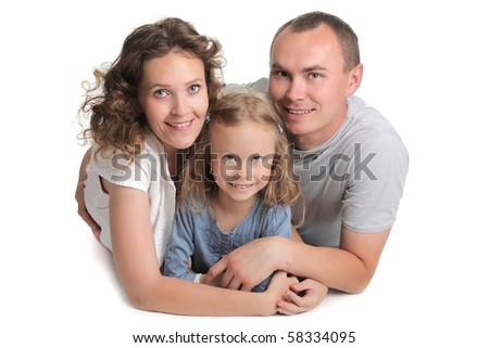 young beautiful healthy happy family - stock photo