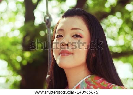 Young beautiful japanese woman wearing kimono at Kyoto Japan - stock photo