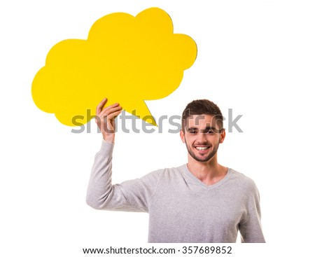 Young beautiful men holding a yellow bubble for text, isolated on a white background