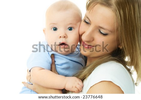 young beautiful mother embracing her little baby and smiling