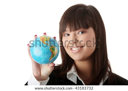 Young beautiful optimistic office business woman with a globe, isolated on white - stock photo