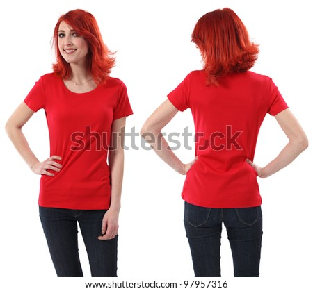 Young beautiful redhead female with blank red shirt, front and back. Ready for your design or artwork. - stock photo