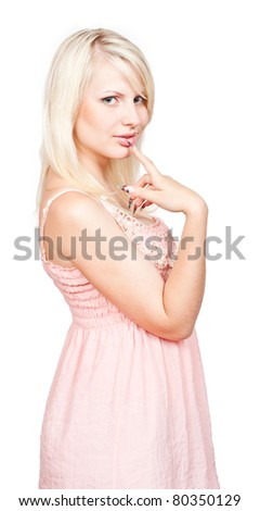 Young beautiful sexy blonde with a mysterious face on a white background