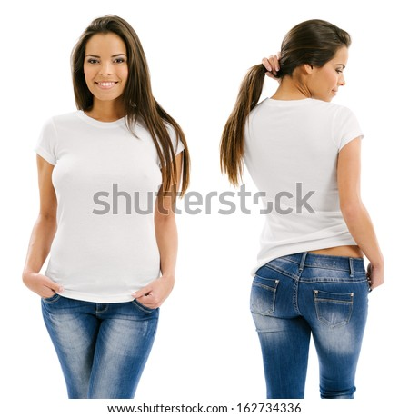 Young beautiful sexy female with blank white shirt, front and back. Ready for your design or artwork. - stock photo