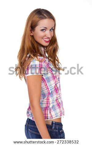 Young beautiful sexy female with shirt - stock photo