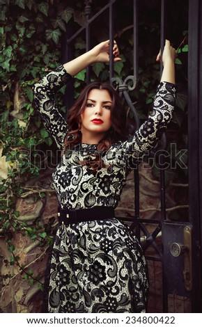 Young beautiful sexy girl posing - stock photo