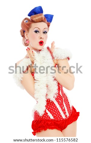 Young beautiful sexy surprised pin-up girl in red corset, over white background - stock photo
