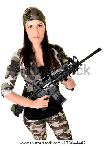 Young beautiful sexy Woman holding Handgun in hand
