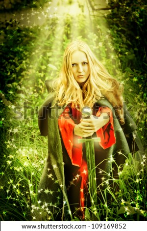 Young beautiful sexy woman witch in miracle Enchanted forest - stock photo