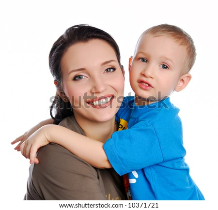 young beautiful son embracing  her  mother - stock photo
