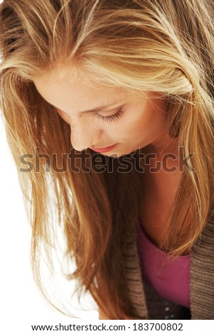 Young beautiful stressed woman. Depression concept. - stock photo