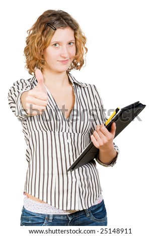 Young beautiful successful businesswoman  with a folder in hand. Isolated on white background - stock photo