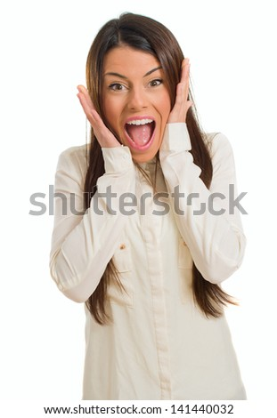 Young Beautiful Surprised Woman Isolated Over White Background - stock photo