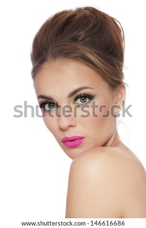 Young beautiful tanned girl with bright fresh make-up over white background - stock photo
