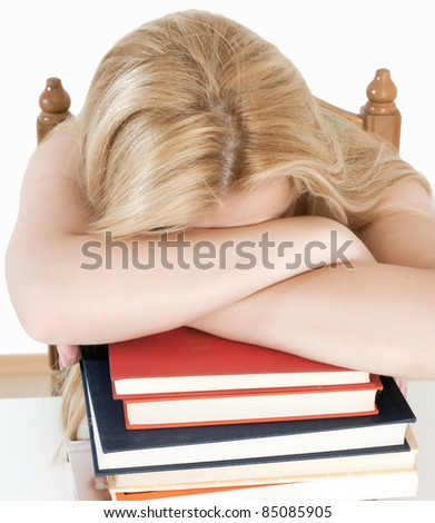 young beautiful teacher woman over white background - stock photo