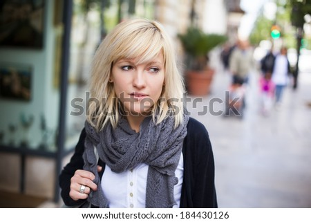 Young beautiful urban girl wearing autumn clothes. - stock photo
