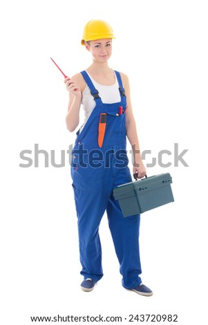 young beautiful woman builder in workwear with toolbox and screwdriver isolated on white background - stock photo