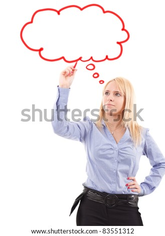 Young beautiful woman drawing a balloon to let you write your own text inside - stock photo