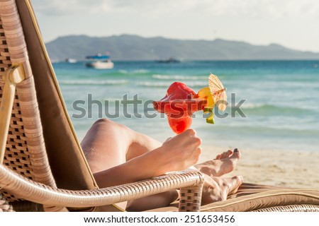 young beautiful woman enjoying summer vacation, beach relax, summer in tropics - stock photo