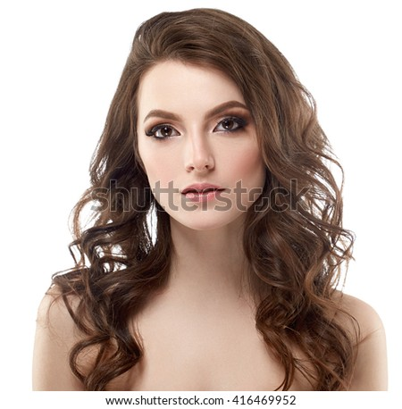 Young beautiful woman face portrait with healthy skin  - stock photo