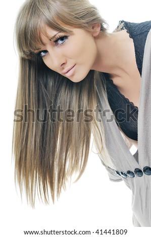 young beautiful woman fashion headshoot isolated on white - stock photo
