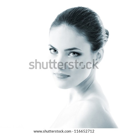 young beautiful woman, female face closeup, toned light blue, isolated on white background - stock photo