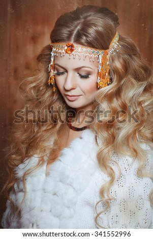 Young beautiful woman fortuneteller. Divination - stock photo