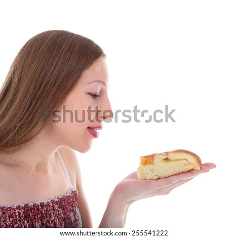 young beautiful woman going to eat a delicious cake - stock photo