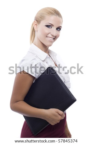 young beautiful woman holding a folder