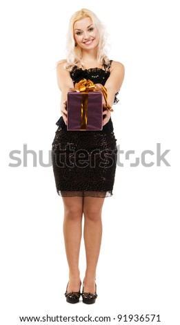 Young beautiful woman holding a present? isolated on white background - stock photo