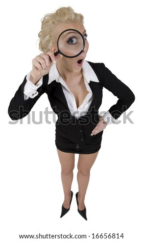 young beautiful woman holding magnifying glass enlarging her eyes on isolated background - stock photo