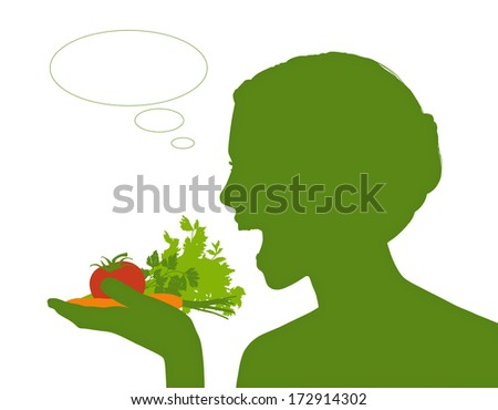 young beautiful woman holding some vegetables in her hand about to eat it all, a vacant text bubble next to her - stock photo