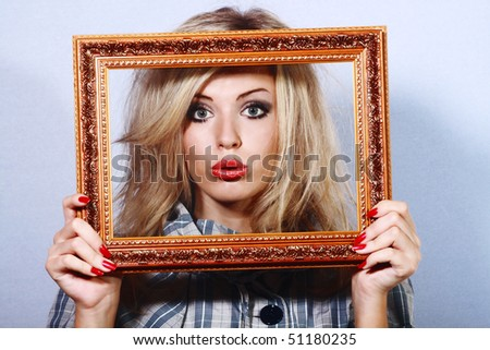 young beautiful woman in a frame