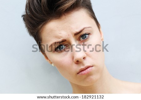 Young beautiful woman in depression - stock photo
