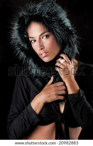 young beautiful woman in fur - stock photo