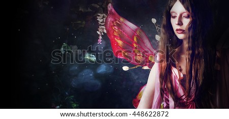 Young beautiful woman in the image of fairies, dark forest - stock photo