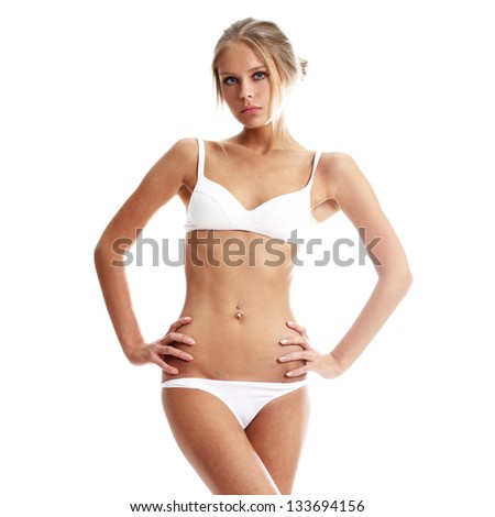 young beautiful woman in underwear - stock photo