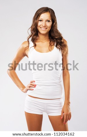 Young beautiful woman in white cotton underwear