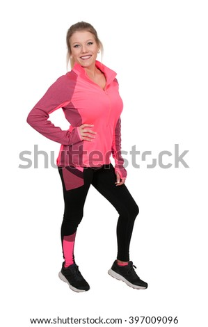 Young Beautiful Woman in workout clothes running suit
