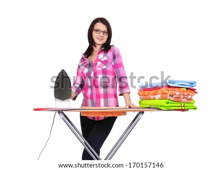young beautiful woman ironing clothes on a white background - stock photo