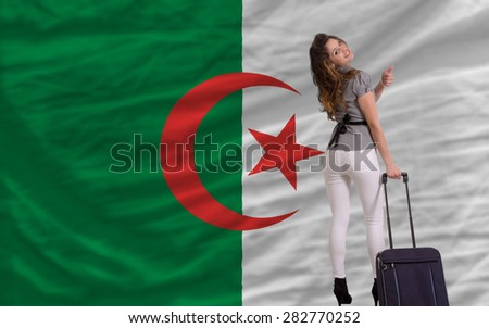 young beautiful woman is traveling to algeria - stock photo