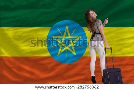 young beautiful woman is traveling to ethiopia - stock photo