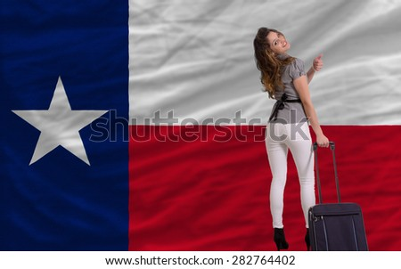 young beautiful woman is traveling to texas - stock photo