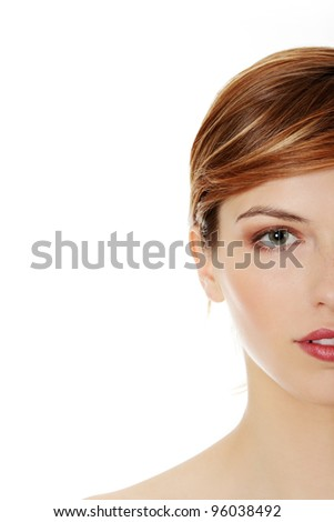 Young beautiful woman, isolated on white - stock photo